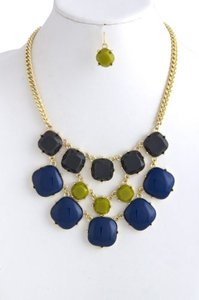 Other Multi Color Faceted and Cabochon Acrylic Bib Necklace Set