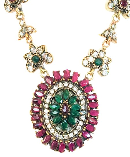 Other High Quality Ruby, Emerald and Topaz 925 Sterling Silver Necklace