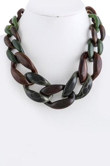 Other Green and Brown Mix Chain Link Statement Necklace