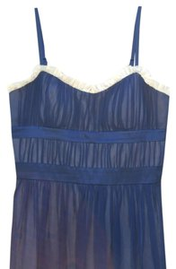 BCBG Paris Sheer Chiffon Feminine Blue And Creme Bcbg Dress