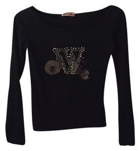 Mango Studded T Shirt black