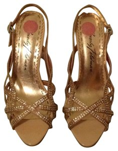 Beverly Feldman Crystal Nude and Gold Formal