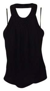 bebe Silk Beaded black Halter Top
