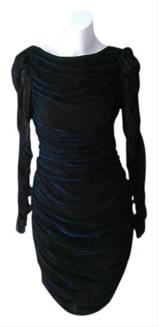 Preload https://item1.tradesy.com/images/electric-blue-lurex-black-80s-ruched-bombshell-wiggle-glitter-disco-knee-length-night-out-dress-size-511850-0-0.jpg?width=400&height=650