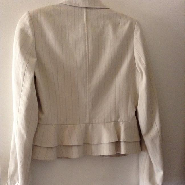 Laundry by Shelli Segal Beige with light turquoise pinstripe Blazer