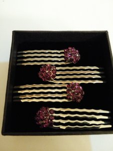 SOHO Beauty Four Sparkly Soho Style Crystal Cluster Mini Hair Combs in Dark Purple.