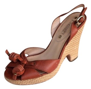 Céline Espadrille Tassels Slingback Open Toe tobacco brown Wedges