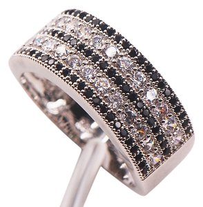 Sterling Silver Black and White CZ Thick Band Ring