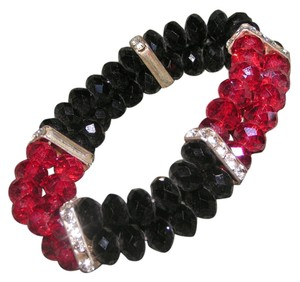 Black Red Rhinestone Crystal stretch bracelet free shipping