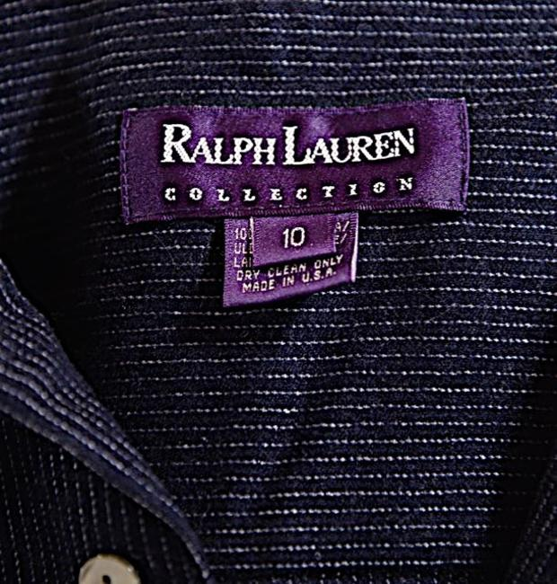 Ralph Lauren Pin Stripe Wool Button Down Shirt Navy & White
