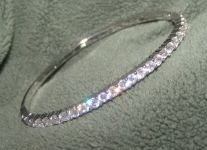 White Topaz Silver Plated Bangle Bracelet Free Shipping