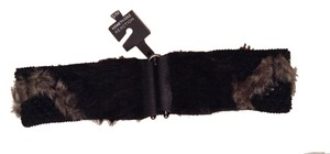Kenneth Cole Kenneth Cole Reaction Women's Faux Fur Black/Grey Elastic Wide Cinch Belt Sz S/M