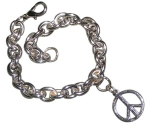 Thick Sterling Plated Peace Sign Link Bracelet Unisex Free Shipping