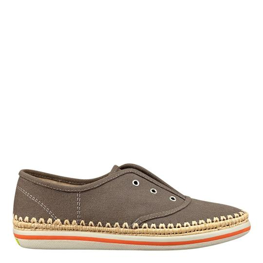 Boutique 9 Kadence Sneakers Loafers Slip Brown Tan Canvas Fabric Designer Fashion Modern Cool Chic Walking Comfort Comfortable taupe Flats