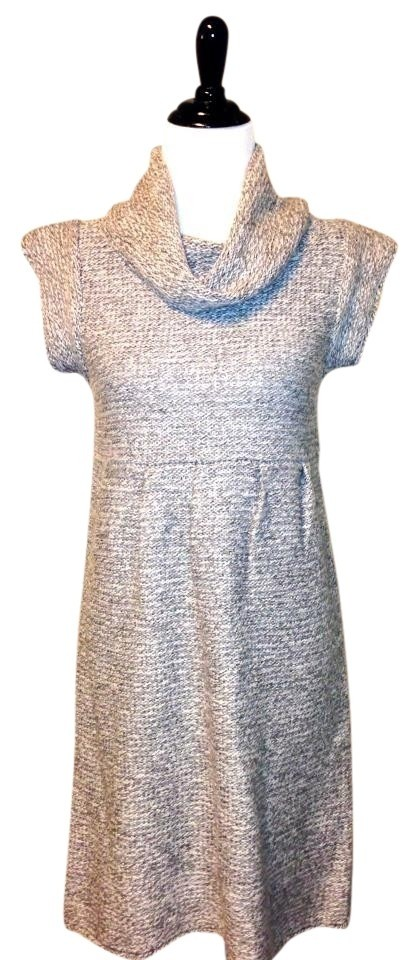 Gray Heather Mixed Cowl Neck Sweater Small Knee Length Short Casual ... fd2737052