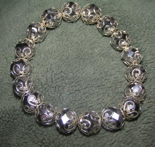 Silver Capped Black Crystal Stretch Bracelet Free Shipping