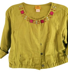 Ruby Rd. Ruby Rd. embellished green linen jacket with snaps and 3/4 length sleeves.