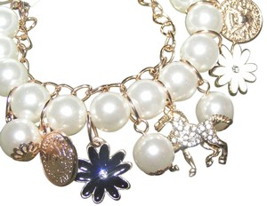Cute Rhinestone Horse Pearl Charm Bracelet/Anklet Free Shipping
