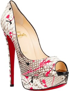 Christian Louboutin Lady Peep Splatter Print Multicolor Python 36.5 6.5 White, Fuchsia, Black Pumps