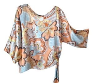 AUM Couture Top Multi color silk blouse blue, beige, peach, brown, gold