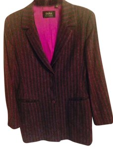 Dana Buchman Wool Jacket Charcoal Gray and Hot Pink Blazer