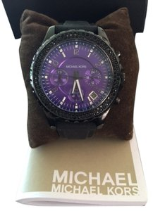 Michael Kors Black Band with Deep Purple Face with Silver Crystals -Black Crystals Surround the Exterior Face- Stunning MK Watch