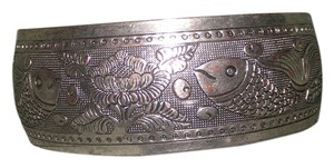 Fish & Flower Antiqued Cuff Bracelet Free Shipping