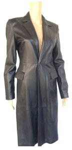 Emporio Armani Leater Coat Fitted Size 6 Trench Coat