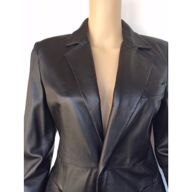 Emporio Armani Leater Coat Fitted Size 6 Trench Coat Image 1