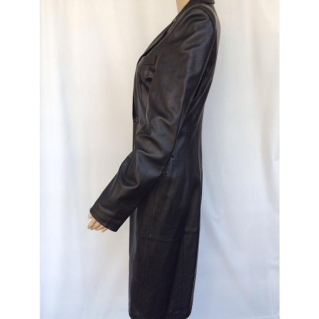 Emporio Armani Leater Coat Fitted Size 6 Trench Coat Image 2