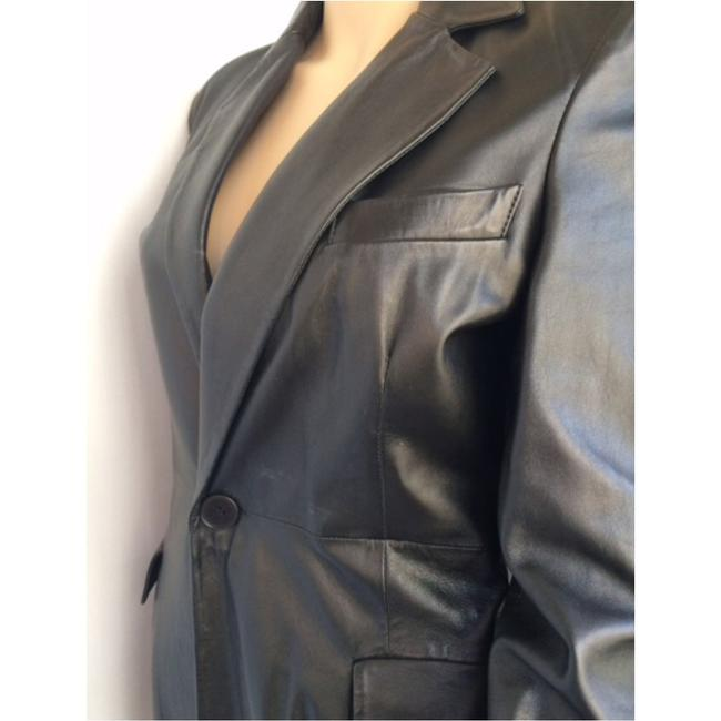 Emporio Armani Leater Coat Fitted Size 6 Trench Coat Image 3