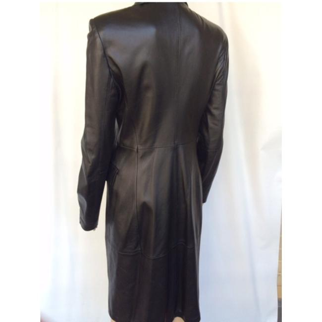Emporio Armani Leater Coat Fitted Size 6 Trench Coat Image 5
