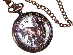 Quartz Horse Copper Pocket Watch Free Shipping