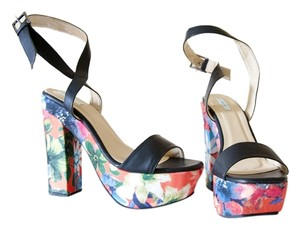 Kimchi Blue Platform Floral Black, Pattern, Orange, Printed Platforms