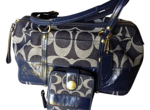 Coach Satchel in Blue Denim Satchel with Matching Wallet