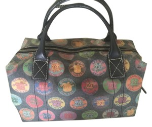Dooney & Bourke Satchel in Black with Colorful emblems