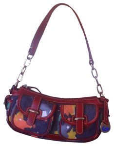 Dooney & Bourke Splash Denim Banana Red Baguette