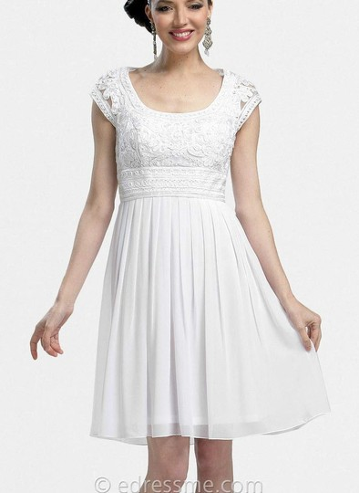 Sue Wong White Nylon Polyester Modern Wedding Dress Size 6 (S)