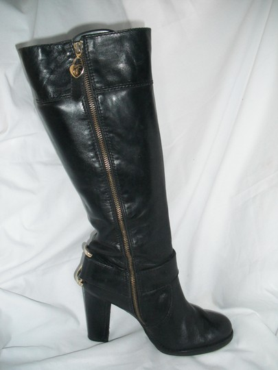 Juicy Couture Horse Bit Leather Tall Black Boots