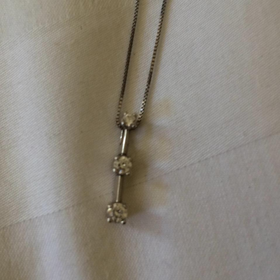 7a4f1ae296492 Kay Jewelers White Gold Diamond Past Present Future Necklace 70% off retail