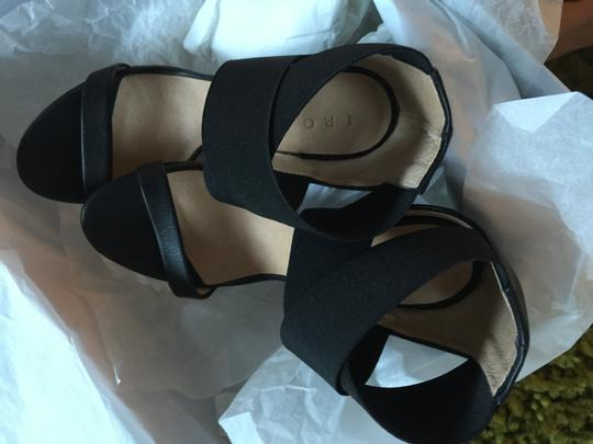 IRO Cone Heel Elastic Leather Mod Black Sandals