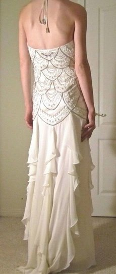 Sue Wong Ivory Polyester/Nylon Gown Formal Wedding Dress Size 6 (S)