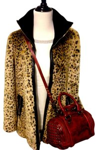 Other Faux Fur Fur Coat Leopard Print Animal Print Coat Topshop Leopard/Black Jacket