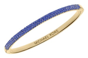 Michael Kors contact me for 10% off-LAST Gold Tone Sapphire Camille Hinged Bracelet