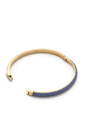 Michael Kors contact me for 10% off-LAST Gold Tone Sapphire Camille Hinged Bracelet Image 3