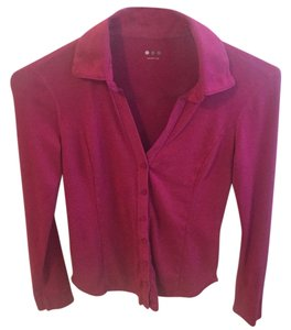 Three Dots Button Down Shirt Magenta pink