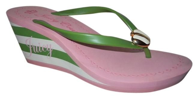 Item - Pink Green & White Platform Foam Sandals Size US 9 Regular (M, B)