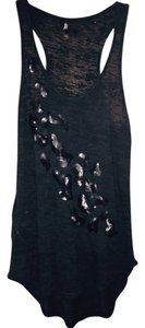 BCBGMAXAZRIA Animal Print Sheer Top Black with Leopard Sequins