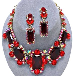 Vintage Siam Red Multicolor Rhinestone Crystal Necklace and Earring