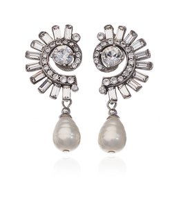 Ben-Amun Crystal Crescent Pearl Drop Earrings